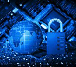 Futuristic integrated circuit, code lock and globe